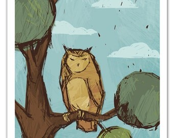 Sketch Owl Art Print - 11x14