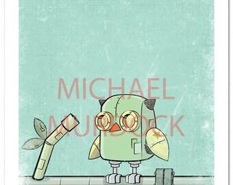 Robot Owl Art Print