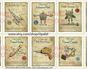 4-pack Large Retro Art Prints - 13x19 - vintage style