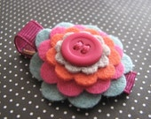 Skylar - Wool Felt Flower and Button Hair Clip
