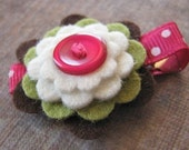 BETH Wool Felt and Button Hair Clip