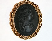 In Mourning Noir Cameo Brooch Pin Accessory By Cutie Dynamite Boudoir Pinup Girly