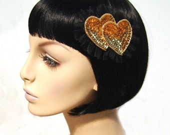 Double Ruffled Gold Heart Hair Clip Accessory by Cutie Dynamite Cute Kawaii Lolita Pinup Party