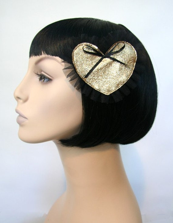 SUPER Goldie Heart Hair Clip Accessory Cute Pinup Romantic Valentine Girly by Cutie Dynamite