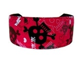 Hearts and Skulls, Black and Hot Pink, Dramatic Headband