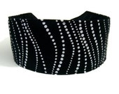 White Dotted Swirls Over Black Elegant Formal Wear, Beautiful Headband