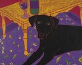 Dog Pop Art - Distinguished Dog II - Black Labrador - Lab Print by dogppart on Etsy