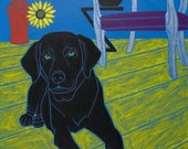 Labrador Art - Pop - In the Blue Room - Dog Print by dogpopart on Etsy