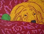 After a Long Hard Day - Dog Pop Art - Golden Retriever Art Print - by dogpopart on etsy