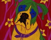 Empathy for the Alpha Dog - Modern Dog Art - Boxer Painting - Pop Art - by dogpopart on Etsy