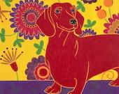 Wonderful Wiener Dog - Dachshund Art - Hotdog Art - Dog Pop Art - by dogpopart