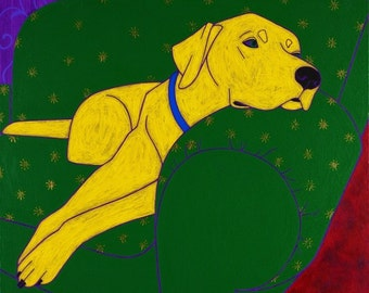 Yellow Lab in Repose - Dog Pop Art - Giclee Print by dogpopart on etsy