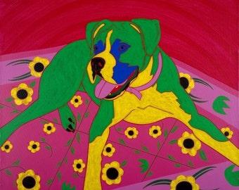 Pop Art -Dog Print - Courageous Clown - Fine Art Print by Angela Bond