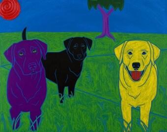 Waiting for the Alpha Dog - Labrador Art - Modern Dog Art - by dogpopart