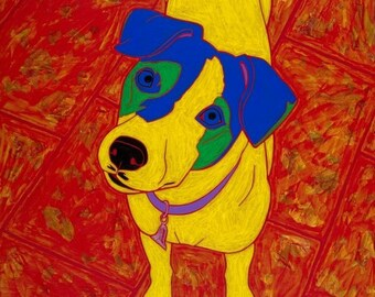 Fiesty JRT - Dog Pop Art - Jack Russell Print - by dogpopart on etsy