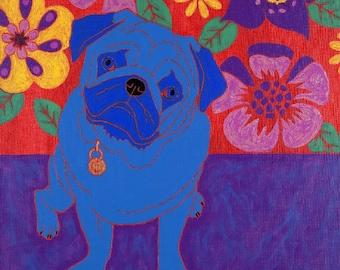 Pug Print - Colorful dog Art by Angela Bond