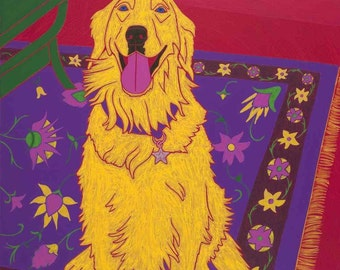 Golden Retriever Art MATTED Print - Colorful Dogs by Angela Bond