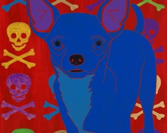 Chihuahua Art MATTED Print - Colorful Dogs by Angela Bond