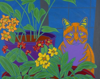 """Tabby by the Window - Tabby Cat Art LARGE Matted 16"""" X 20"""" Print by dogpopart"""
