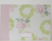 Large Custom Guestbook / Album- 10 x 14 size with 50 ivory pages with glassine tissue overlays- pink and green vintage wreath print