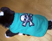 sKeLeToN PuP Jade Creen Cashmere and fleece DOG SWEATER COAT embellished 10 inch long adjustable belly