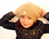 Thick Toasty Tan Cashmere Hat Kids to Adult one size fits most