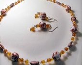 Chinoise amber-accent beaded necklace