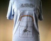 Weather T/ Tee Shirt with Rainbow Screen Print on a Cotton Blend in a Light Blue Heather