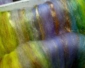 Art batt SALE 4 oz. wool silk hand dyed AUTUMN LAKE