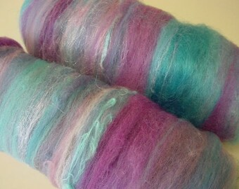 Art batt SALE buy 3 get 1 free 4 oz. Lavender Sky hand dyed carded merino wool alpaca mohair