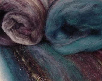 Art batt SALE 4 oz. Night Shadows merino firestar hand dyed