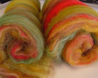 SALE buy 3 get 1 free 4 oz. wool suri alpaca blend hand dyed batt INDIAN SUMMER