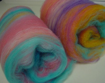 Art batt SALE buy 3 get 1 free 4 oz. merino hand dyed PLAYING CUPIDS