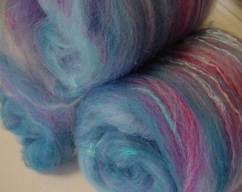 SALE buy 3 get 1 free 4 oz. merino mohair silk hand dyed batt SUNSET CLOUD