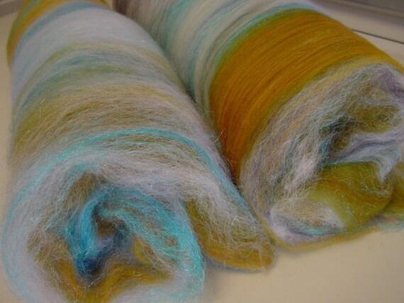 Art batt SALE 4 oz. merino blend hand dyed WINTER BEACH