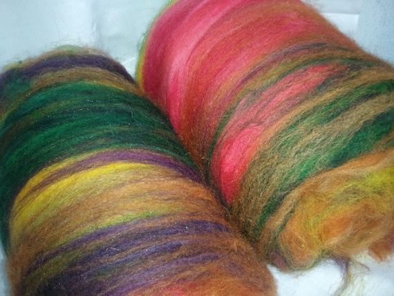 Art batt SALE 4 oz. merino hand dyed batt FOREST FLOOR