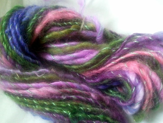 Reserved  for KIM SALE buy 3 get 1 free, 8 oz. hand spun hand dyed wool cotton yarn Lavender Bush