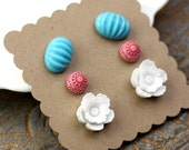 Earrings Flower Post Set Turquoise, Red, and White Gift Set Surgical Steel E047