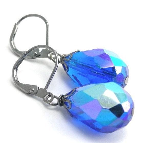 Vintage Glass Earrings - Blue Lagoon Drops 50% off E106