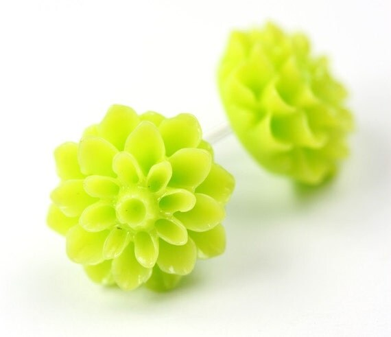 Flower Earrings - Dahlias Lime Green - Surgical Steel Posts E132