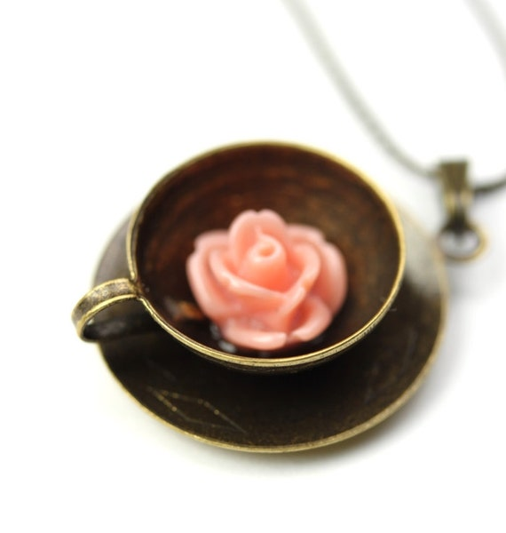 RESERVED for Keri Rose Tea Charm Necklace Pink Flower and Antiqued Brass N001