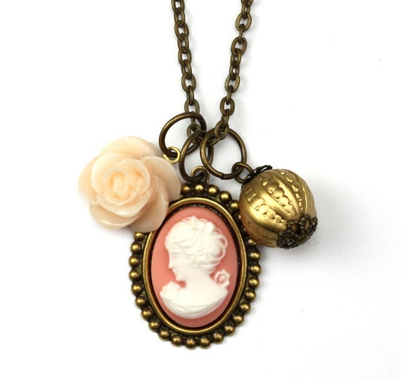 Cameo Flower Charm Necklace Gold Pink Peach Antiqued Brass N025