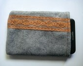 Grey Wool Felt E Reader Sleeve with Orange Lace Detail