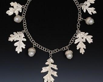 Oak leaves and acorns on handmade sterling chain