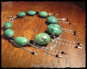 Natural Green Turquoise Necklace Chunky Turquoise Necklace Sterling Silver Necklace Black Crystal Necklace SilverTrove IN STOCK
