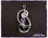 Sterling Silver Pendant Wire Sculpture Faceted Round Amethyst Gemstone 0.7 carat Petite Fleur