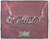 Name Necklace Personalized Sterling Silver Calligraphy Script With Chain Elegant Wire Writing