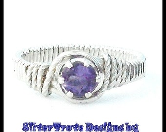 Dark Amethyst Ring Sterling Silver Ring Any Size Wire Wrapped Ring February Birthstone Ring Solitaire Ring Pinkie Ring Child's Amethyst Ring