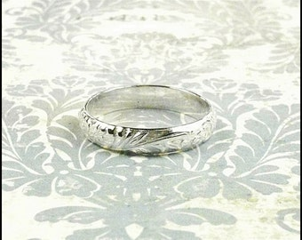 Sterling Silver Ring Patterned Ring Personalized Wedding Band Ring Purity Ring Any Size Engraved Ring Sterling Silver Band Custom Made Ring