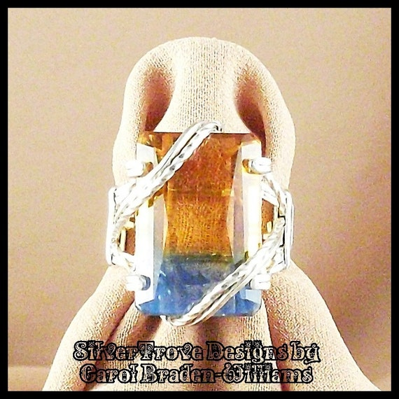 Blue and Orange Emerald Cut Ametrine Size 6 Sterling Silver Ring 18.55 carat gem Sun and Sky by SilverTrove